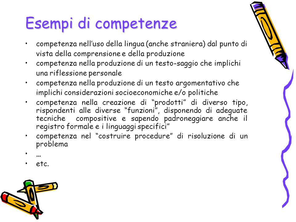 Esempi di competenze competenza nell'uso della lingua (anche straniera) dal punto di vista della comprensione e della produzione competenza nella prod