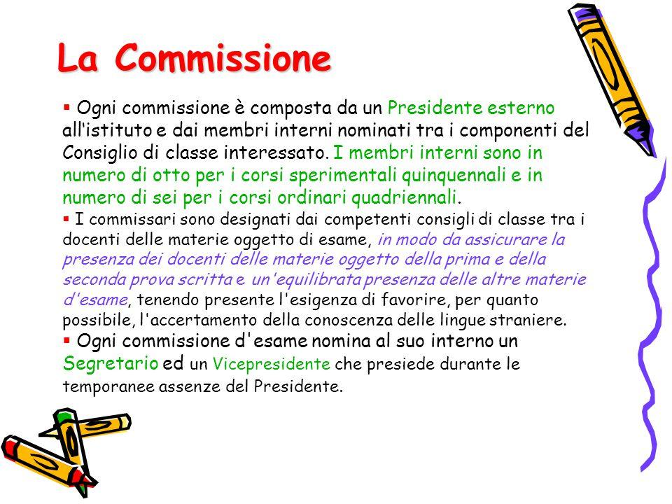 La Commissione  Ogni commissione è composta da un Presidente esterno all'istituto e dai membri interni nominati tra i componenti del Consiglio di cla