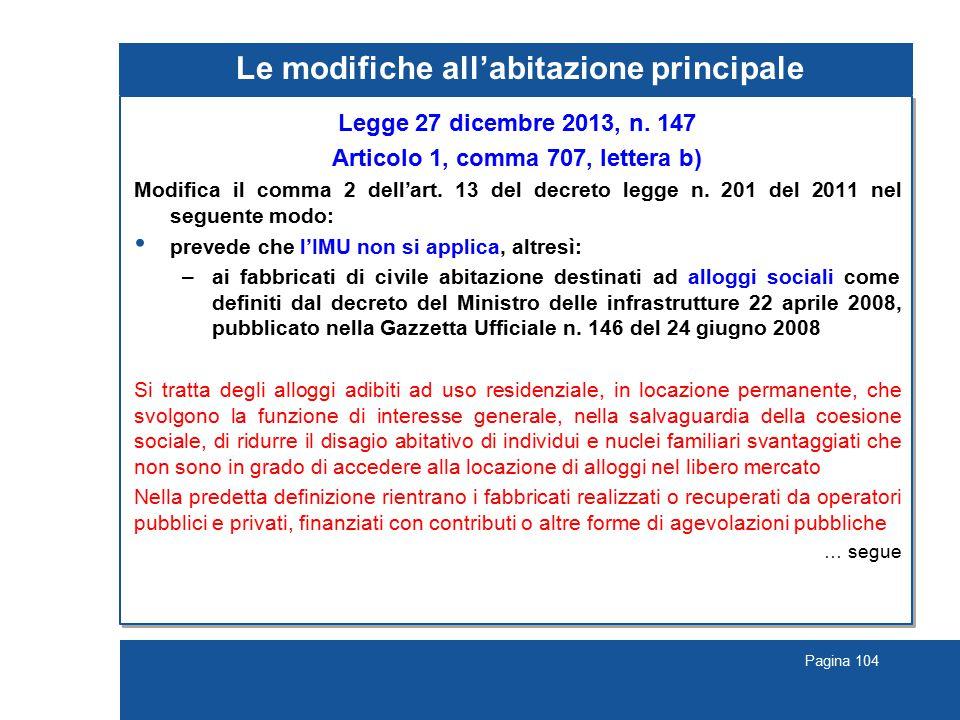 Pagina 104 Le modifiche all'abitazione principale Legge 27 dicembre 2013, n.