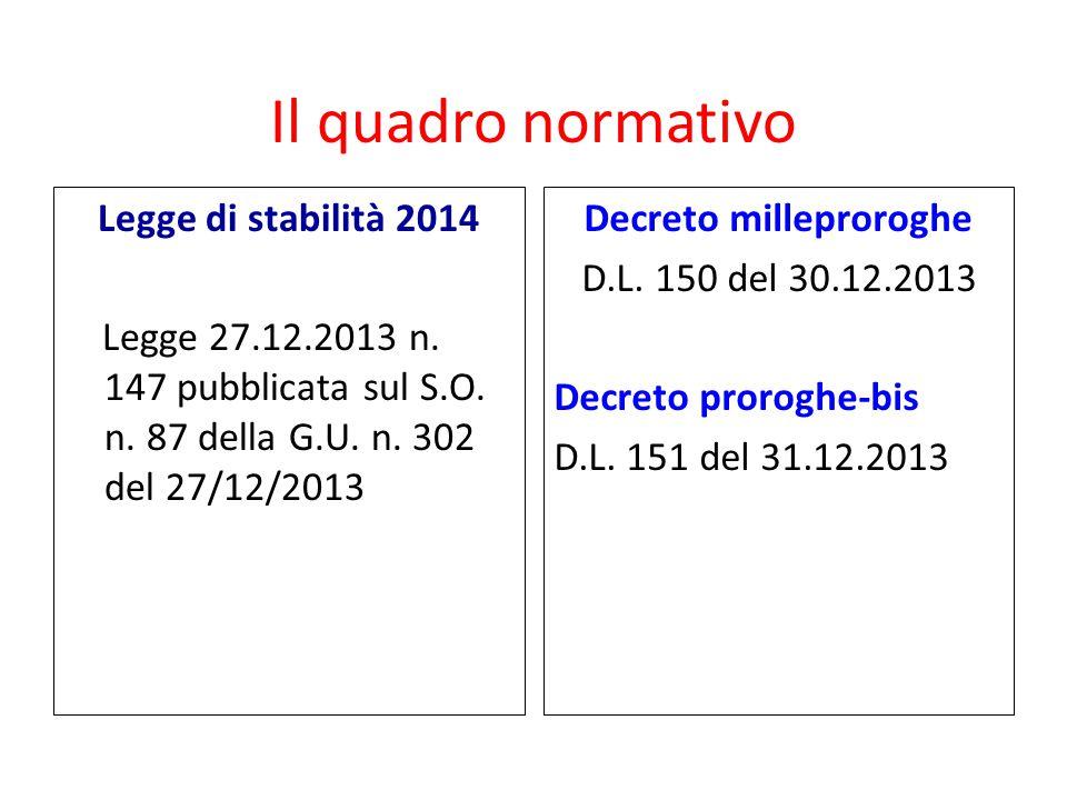 Il quadro normativo Legge di stabilità 2014 Legge 27.12.2013 n. 147 pubblicata sul S.O. n. 87 della G.U. n. 302 del 27/12/2013 Decreto milleproroghe D