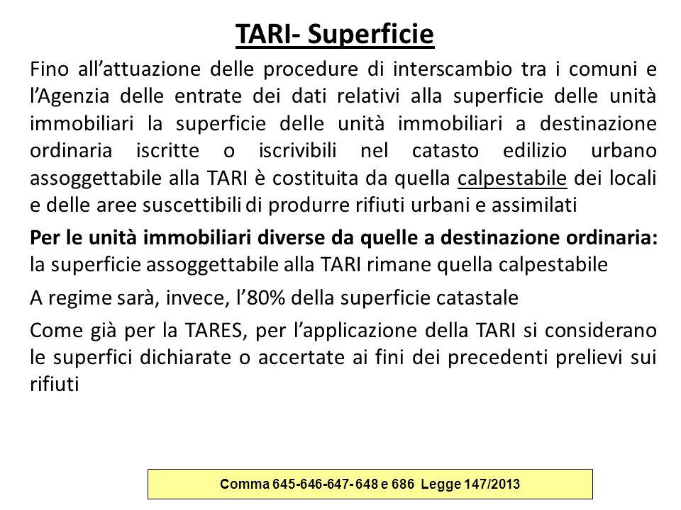 TARI- Superficie Fino all'attuazione delle procedure di interscambio tra i comuni e l'Agenzia delle entrate dei dati relativi alla superficie delle un