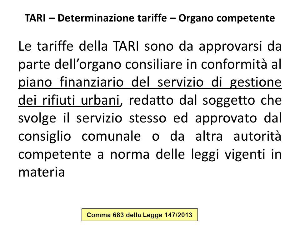 TARI – Determinazione tariffe – Organo competente Le tariffe della TARI sono da approvarsi da parte dell'organo consiliare in conformità al piano fina