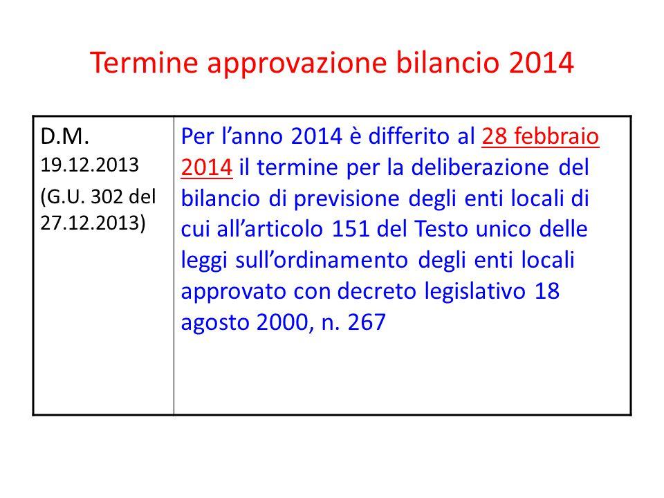 Termine approvazione bilancio 2014 D.M. 19.12.2013 (G.U. 302 del 27.12.2013) Per l'anno 2014 è differito al 28 febbraio 2014 il termine per la deliber