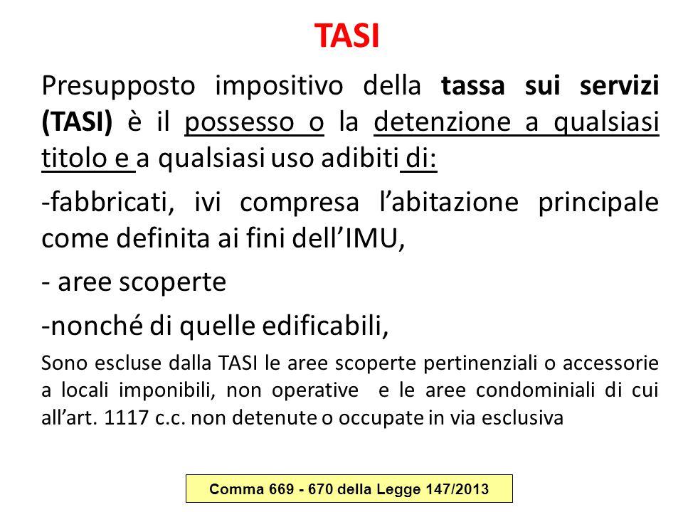 TASI Presupposto impositivo della tassa sui servizi (TASI) è il possesso o la detenzione a qualsiasi titolo e a qualsiasi uso adibiti di: -fabbricati,