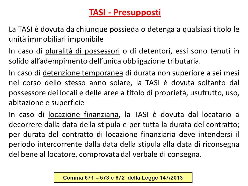 TASI - Presupposti La TASI è dovuta da chiunque possieda o detenga a qualsiasi titolo le unità immobiliari imponibile In caso di pluralità di possesso