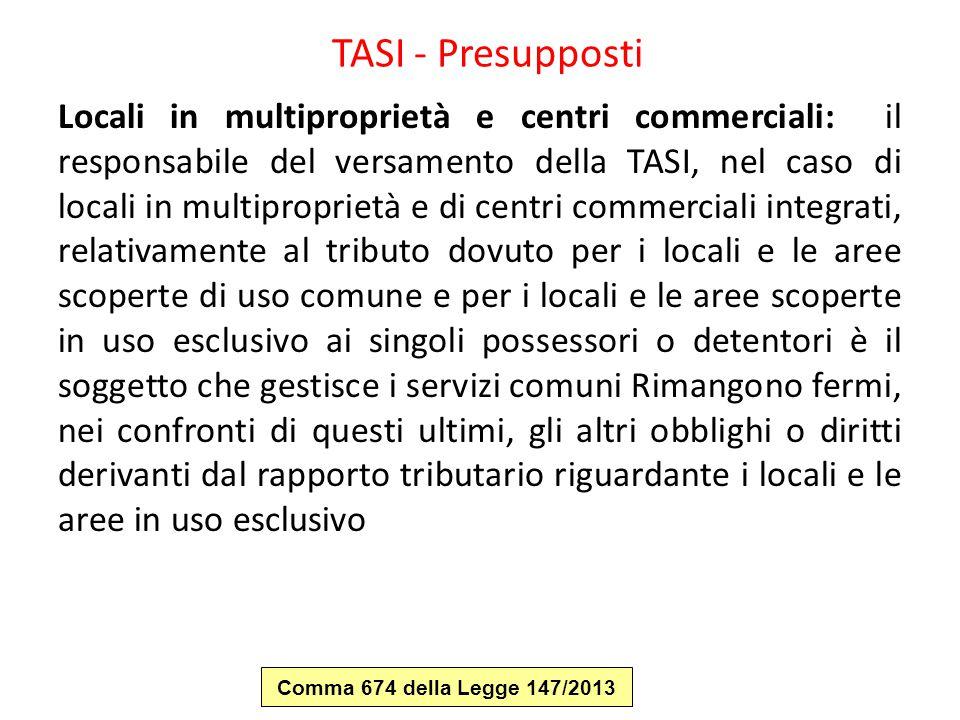 TASI - Presupposti Locali in multiproprietà e centri commerciali: il responsabile del versamento della TASI, nel caso di locali in multiproprietà e di