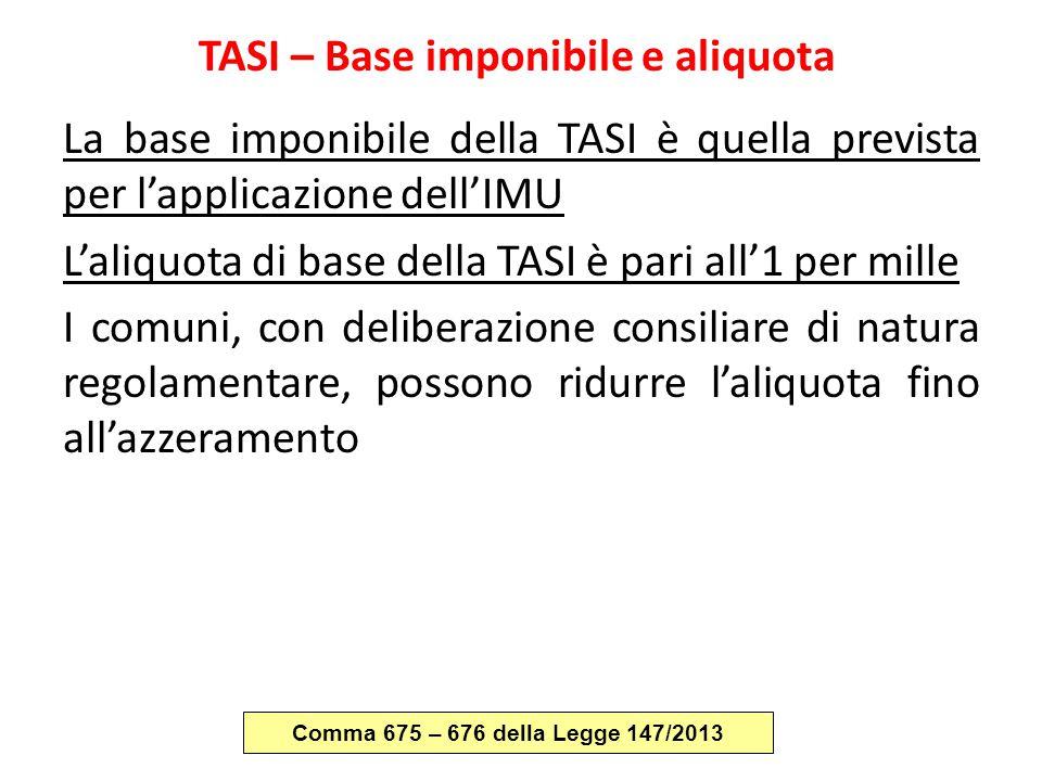TASI – Base imponibile e aliquota La base imponibile della TASI è quella prevista per l'applicazione dell'IMU L'aliquota di base della TASI è pari all