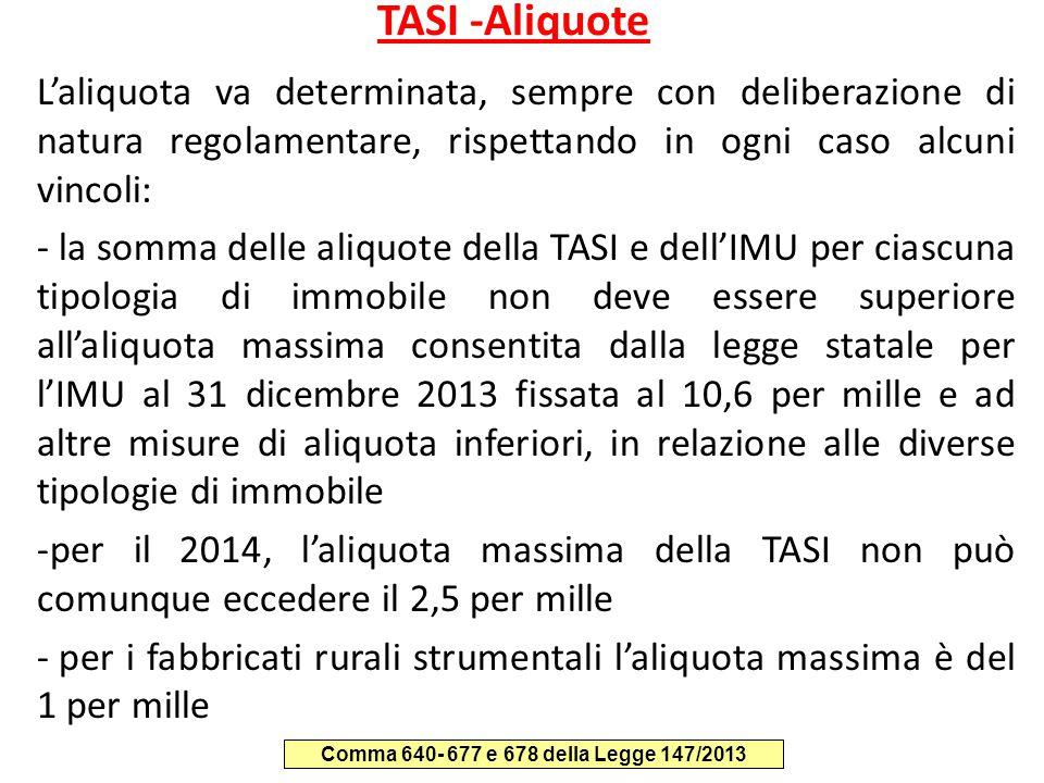 TASI -Aliquote L'aliquota va determinata, sempre con deliberazione di natura regolamentare, rispettando in ogni caso alcuni vincoli: - la somma delle
