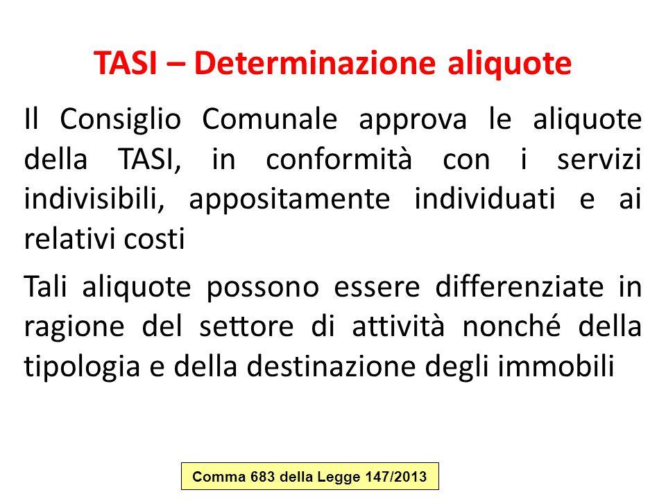 TASI – Determinazione aliquote Il Consiglio Comunale approva le aliquote della TASI, in conformità con i servizi indivisibili, appositamente individua