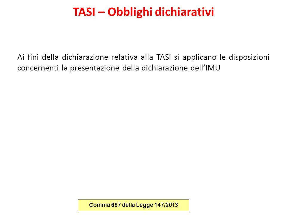 TASI – Obblighi dichiarativi Ai fini della dichiarazione relativa alla TASI si applicano le disposizioni concernenti la presentazione della dichiarazi
