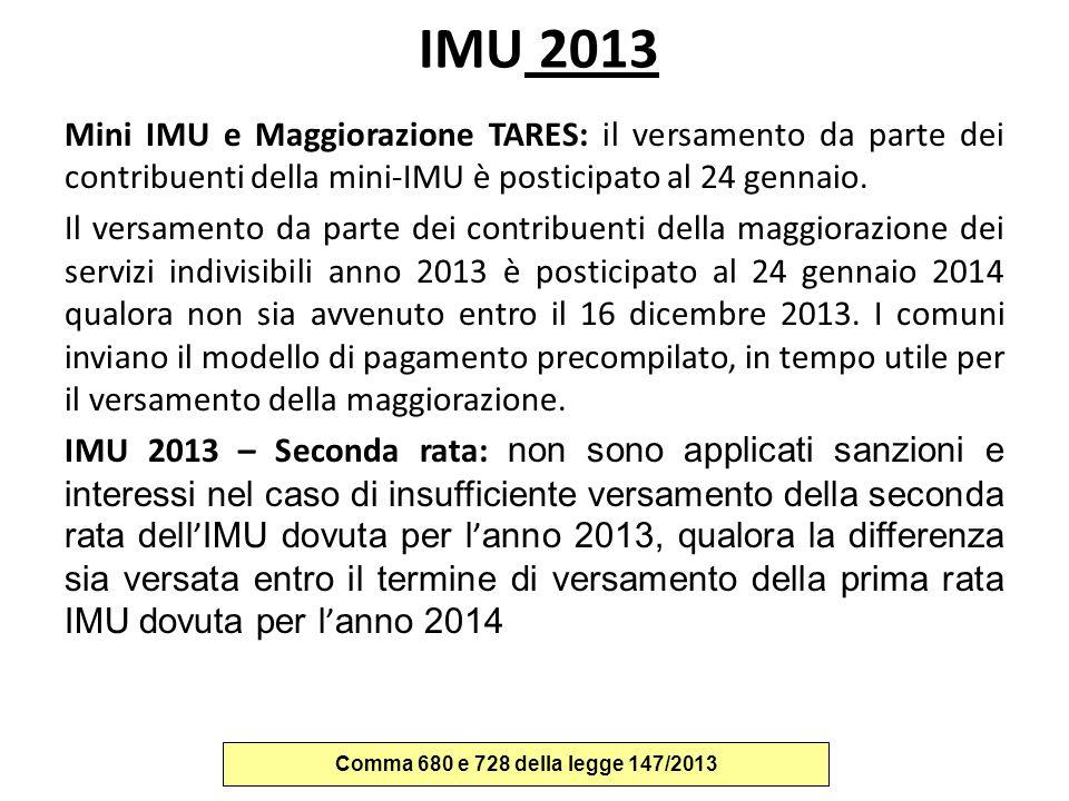 IMU 2013 Mini IMU e Maggiorazione TARES: il versamento da parte dei contribuenti della mini-IMU è posticipato al 24 gennaio. Il versamento da parte de