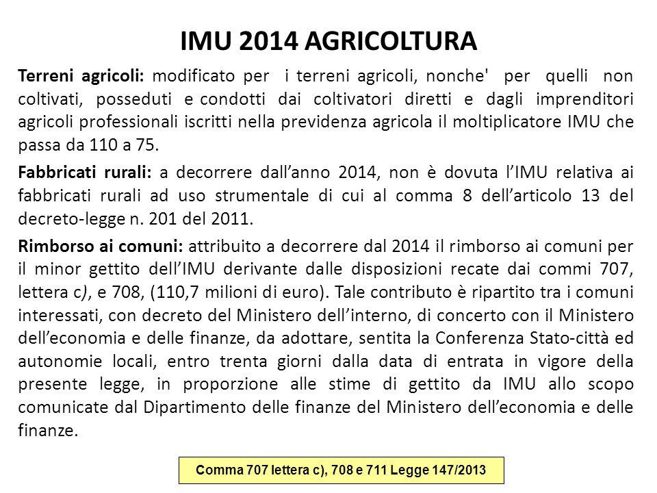 IMU 2014 AGRICOLTURA Terreni agricoli: modificato per i terreni agricoli, nonche' per quelli non coltivati, posseduti e condotti dai coltivatori diret