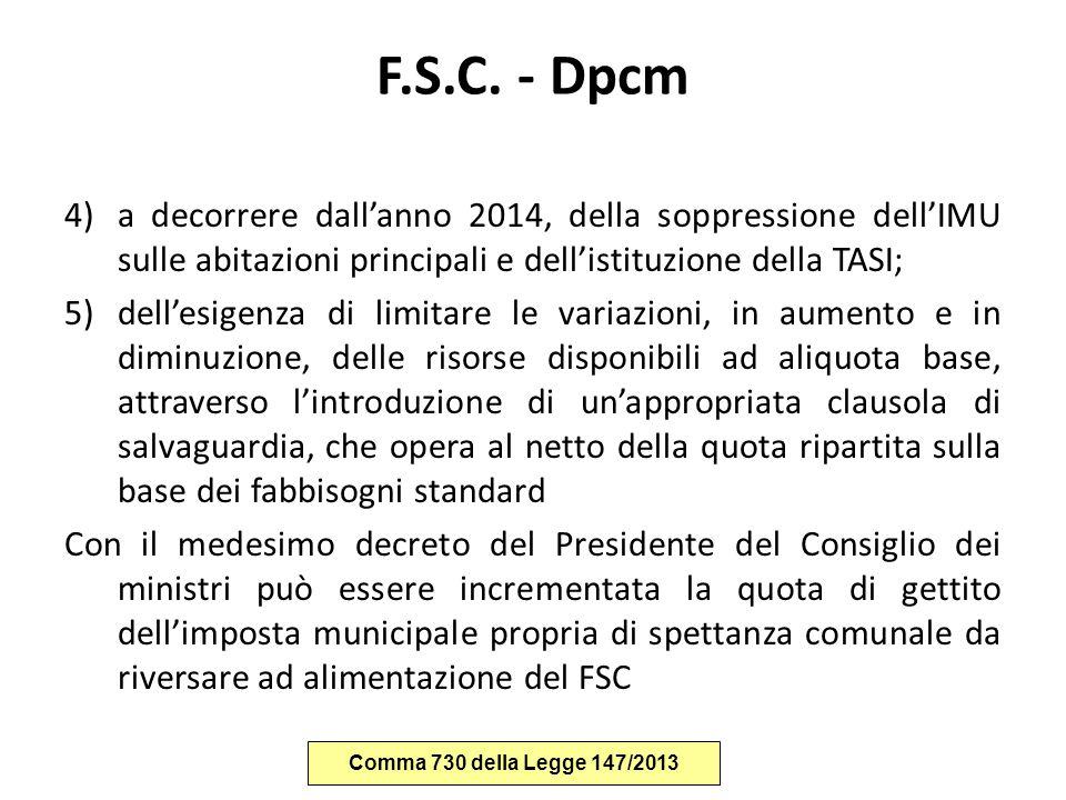 F.S.C. - Dpcm 4)a decorrere dall'anno 2014, della soppressione dell'IMU sulle abitazioni principali e dell'istituzione della TASI; 5)dell'esigenza di