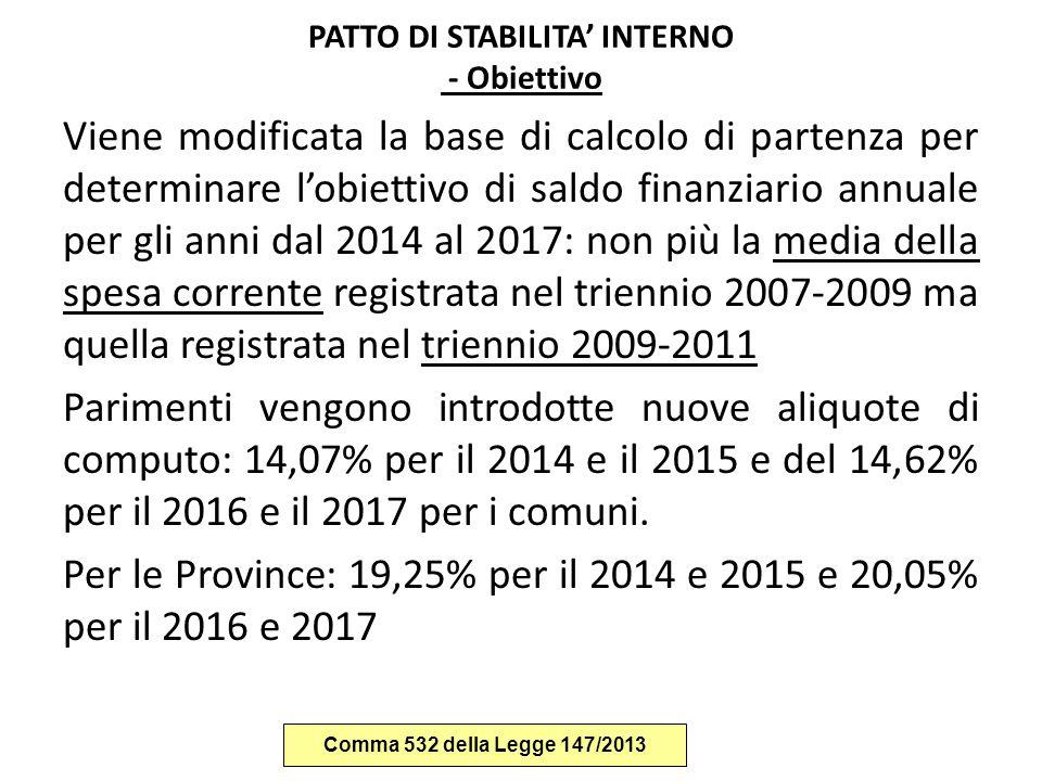 PATTO DI STABILITA' INTERNO - Obiettivo Viene modificata la base di calcolo di partenza per determinare l'obiettivo di saldo finanziario annuale per g