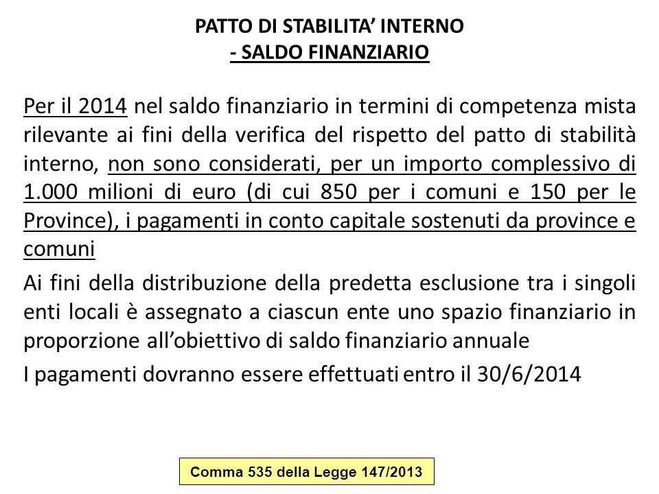 PATTO DI STABILITA' INTERNO - SALDO FINANZIARIO Per il 2014 nel saldo finanziario in termini di competenza mista rilevante ai fini della verifica del