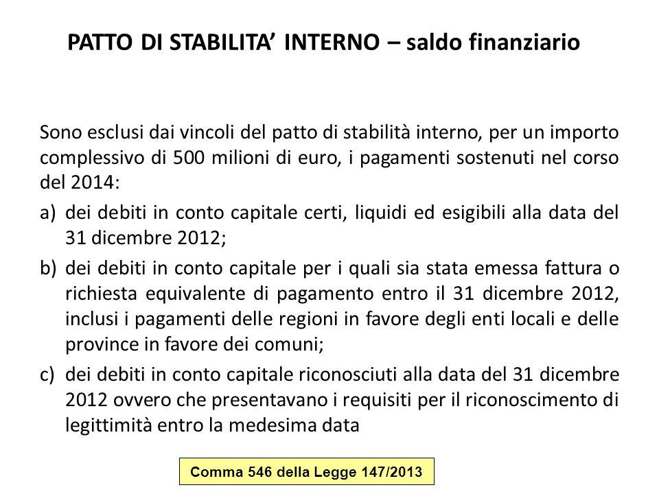 PATTO DI STABILITA' INTERNO – saldo finanziario Sono esclusi dai vincoli del patto di stabilità interno, per un importo complessivo di 500 milioni di
