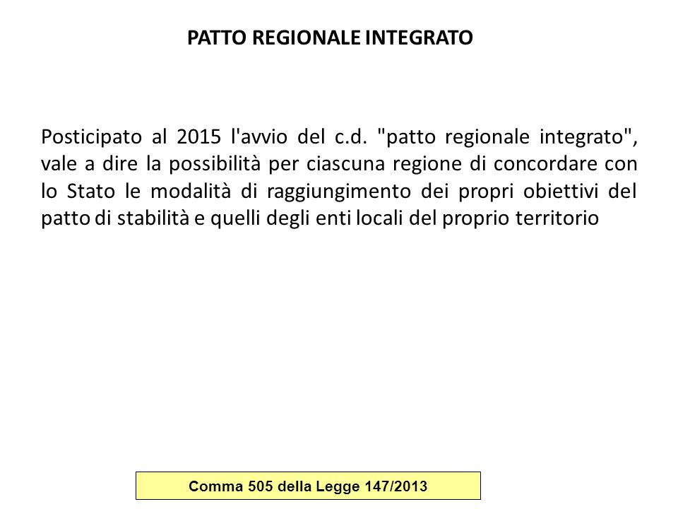PATTO REGIONALE INTEGRATO Posticipato al 2015 l'avvio del c.d.