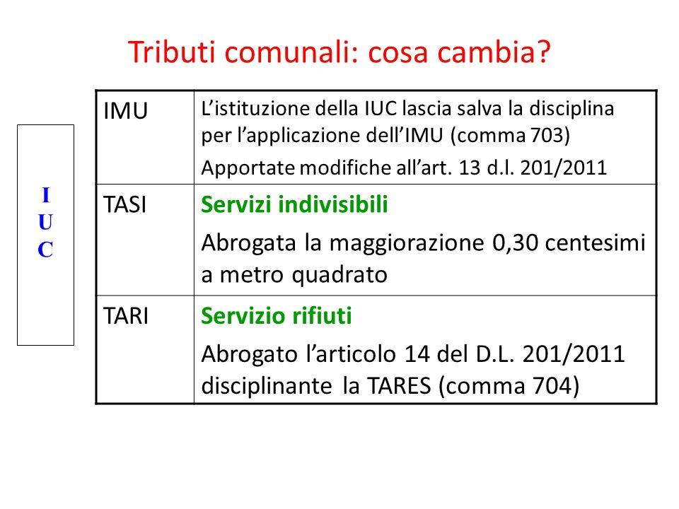Tributi comunali: cosa cambia? IMU L'istituzione della IUC lascia salva la disciplina per l'applicazione dell'IMU (comma 703) Apportate modifiche all'