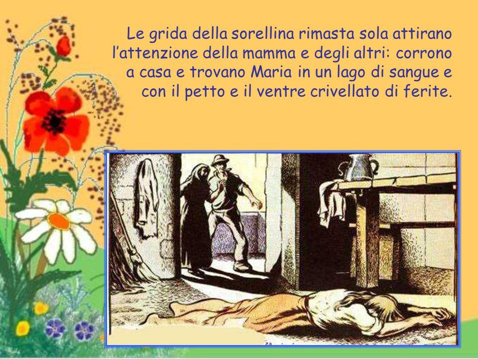 """Maria però non acconsente al """"brutto peccato"""" e quindi cade trafitta da quattordici pugnalate."""