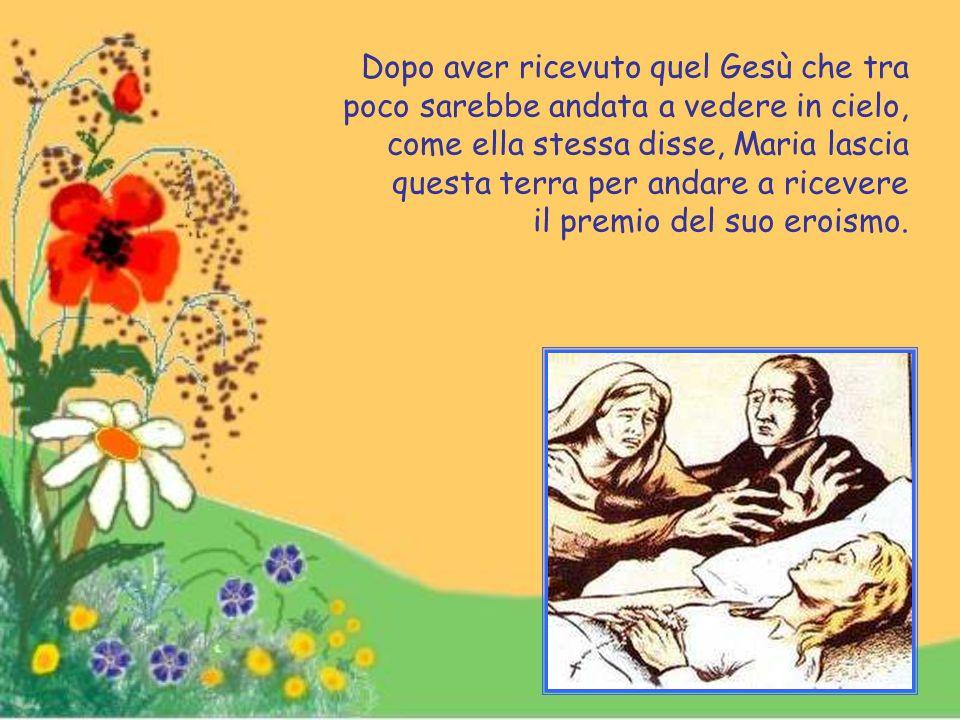 """Maria, fedele imitatrice della Regina della virtù della purezza, viene iscritta prima di morire tra le """"Figlie di Maria""""."""