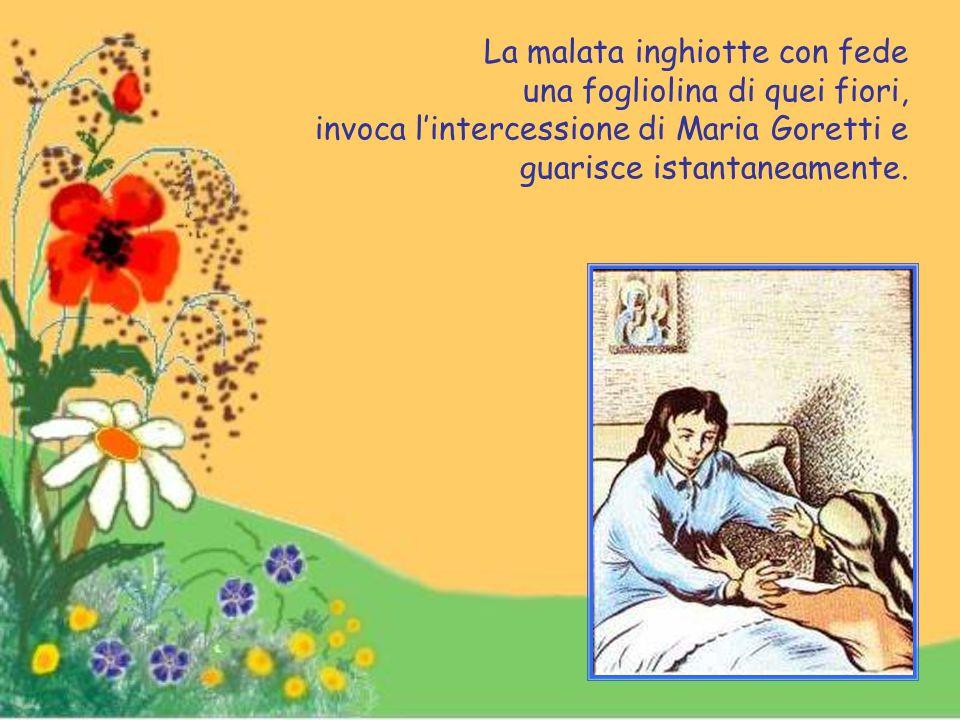 Dei parenti dell'inferma, recatisi a venerare le reliquie esposte in una chiesa di Roma, portano con loro alcuni fiori situati vicino all'urna.