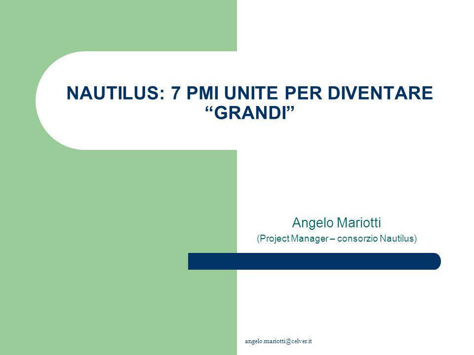 NAUTILUS: 7 PMI UNITE PER DIVENTARE GRANDI Angelo Mariotti (Project Manager – consorzio Nautilus) angelo.mariotti@celver.it