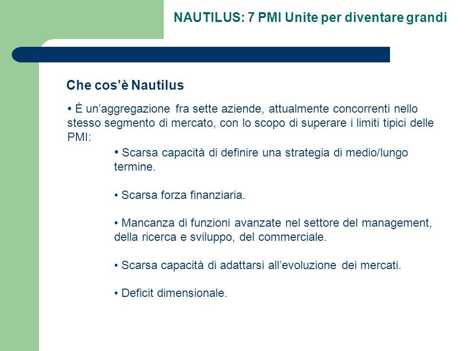 NAUTILUS: 7 PMI Unite per diventare grandi Che cos'è Nautilus È un'aggregazione fra sette aziende, attualmente concorrenti nello stesso segmento di mercato, con lo scopo di superare i limiti tipici delle PMI: Scarsa capacità di definire una strategia di medio/lungo termine.