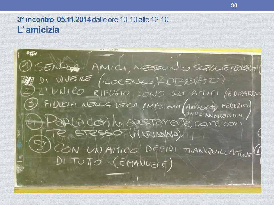 3° incontro 05.11.2014 dalle ore 10.10 alle 12.10 L' amicizia 30