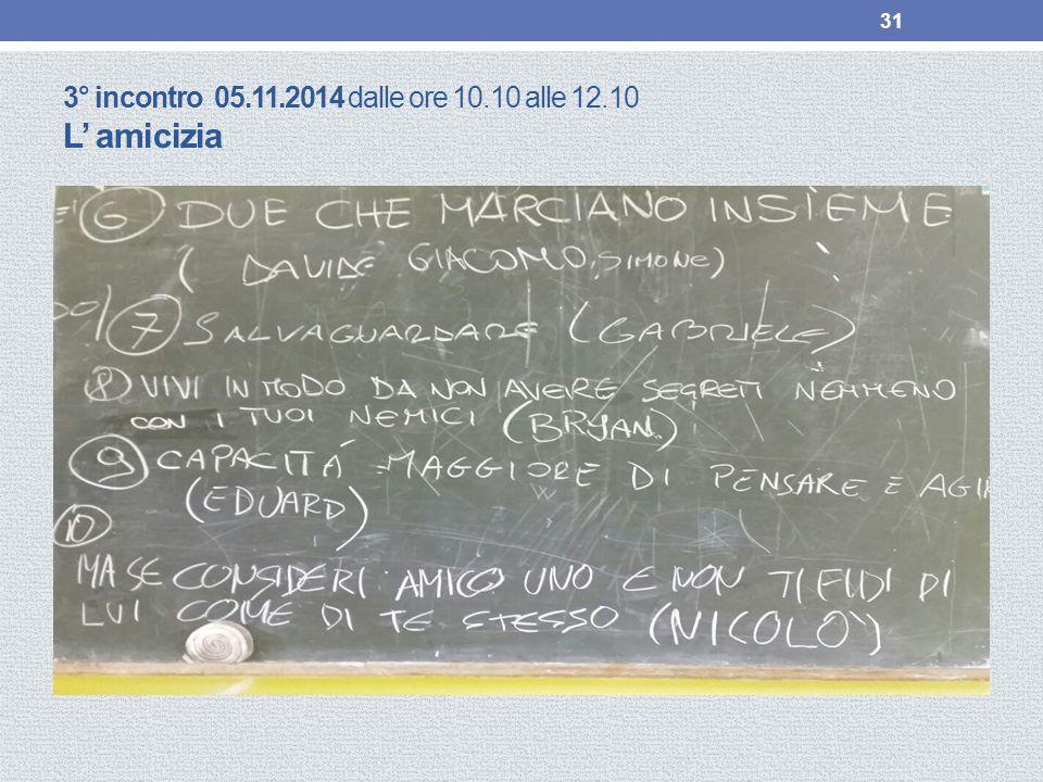 3° incontro 05.11.2014 dalle ore 10.10 alle 12.10 L' amicizia 31
