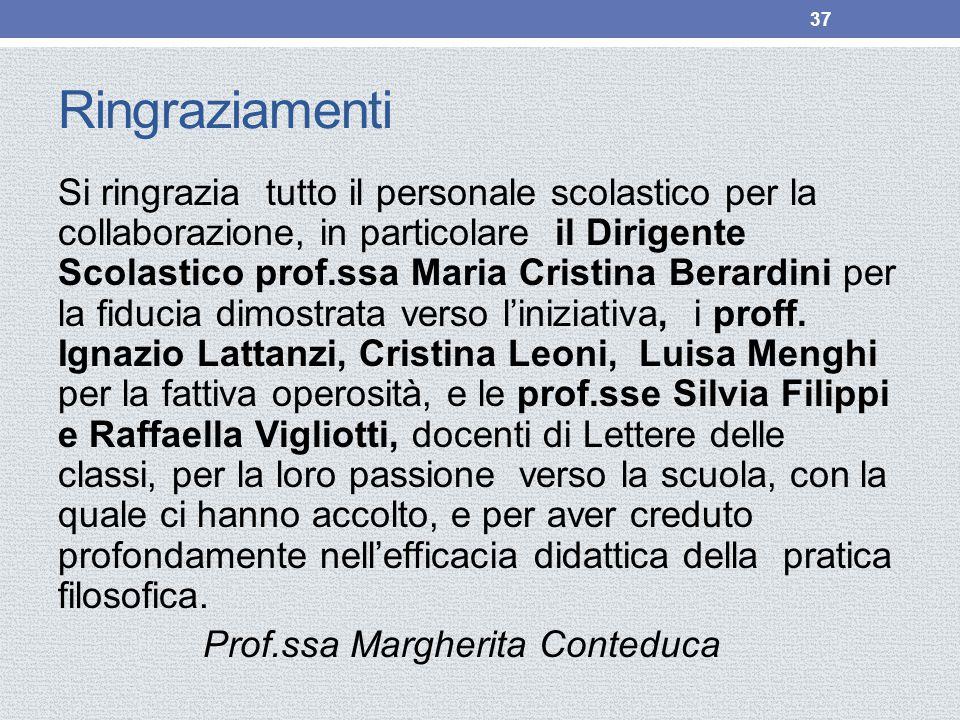 Ringraziamenti Si ringrazia tutto il personale scolastico per la collaborazione, in particolare il Dirigente Scolastico prof.ssa Maria Cristina Berardini per la fiducia dimostrata verso l'iniziativa, i proff.