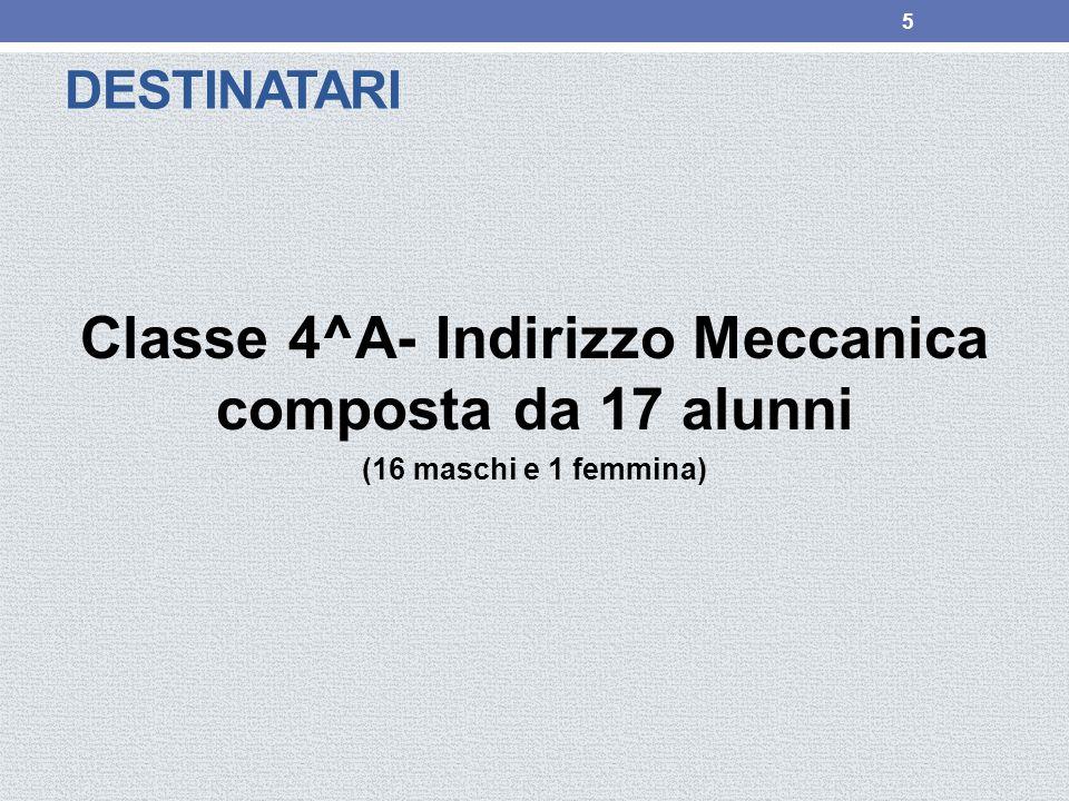 DESTINATARI Classe 4^A- Indirizzo Meccanica composta da 17 alunni (16 maschi e 1 femmina) 5