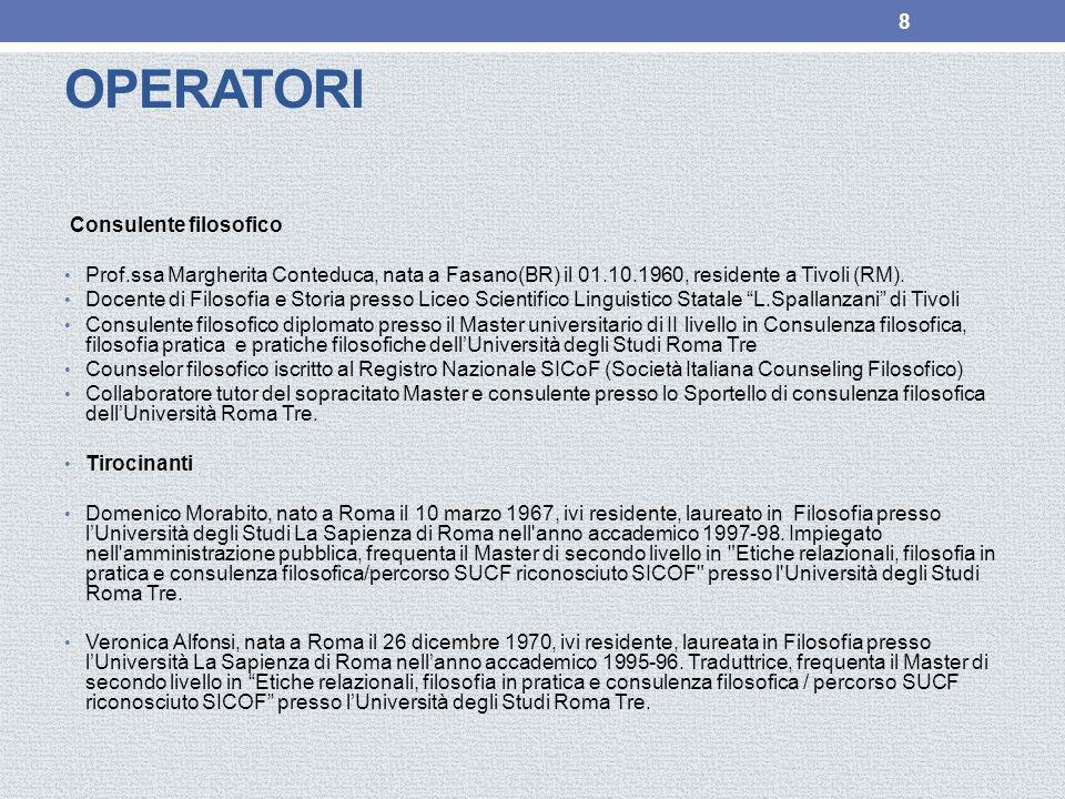 OPERATORI Consulente filosofico Prof.ssa Margherita Conteduca, nata a Fasano(BR) il 01.10.1960, residente a Tivoli (RM).