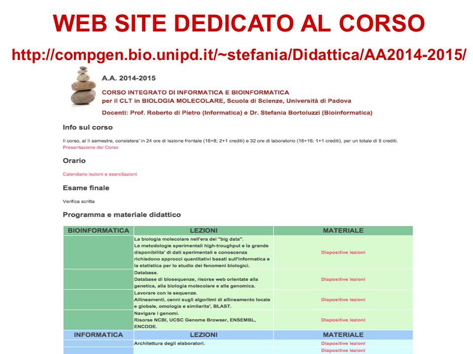 WEB SITE DEDICATO AL CORSO http://compgen.bio.unipd.it/~stefania/Didattica/AA2014-2015/