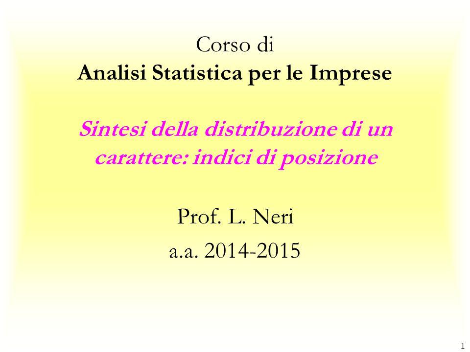 1 Corso di Analisi Statistica per le Imprese Sintesi della distribuzione di un carattere: indici di posizione Prof. L. Neri a.a. 2014-2015