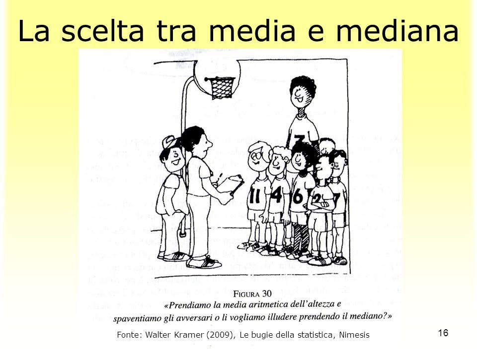 16 La scelta tra media e mediana Fonte: Walter Kramer (2009), Le bugie della statistica, Nimesis