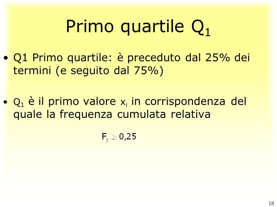 Primo quartile Q 1 Q1 Primo quartile: è preceduto dal 25% dei termini (e seguito dal 75%) Q 1 è il primo valore x i in corrispondenza del quale la fre