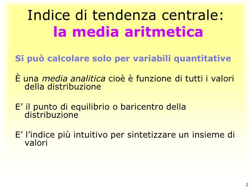 Indice di tendenza centrale: la media aritmetica Si può calcolare solo per variabili quantitative È una media analitica cioè è funzione di tutti i val