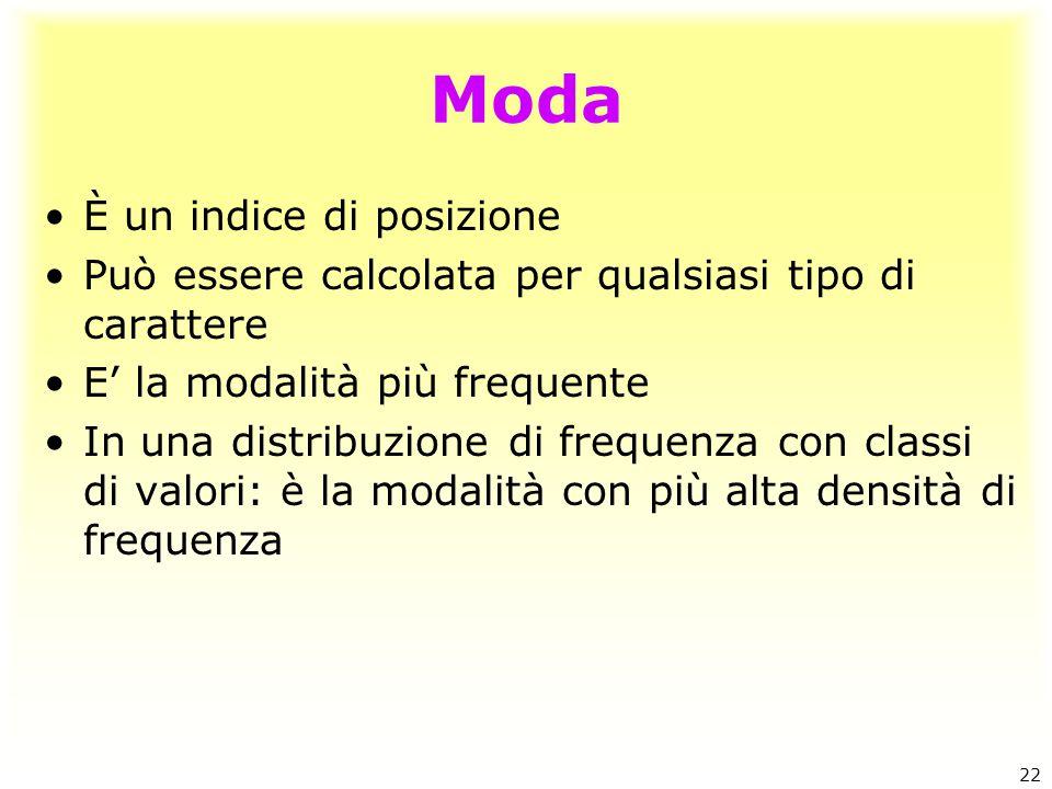 Moda È un indice di posizione Può essere calcolata per qualsiasi tipo di carattere E' la modalità più frequente In una distribuzione di frequenza con