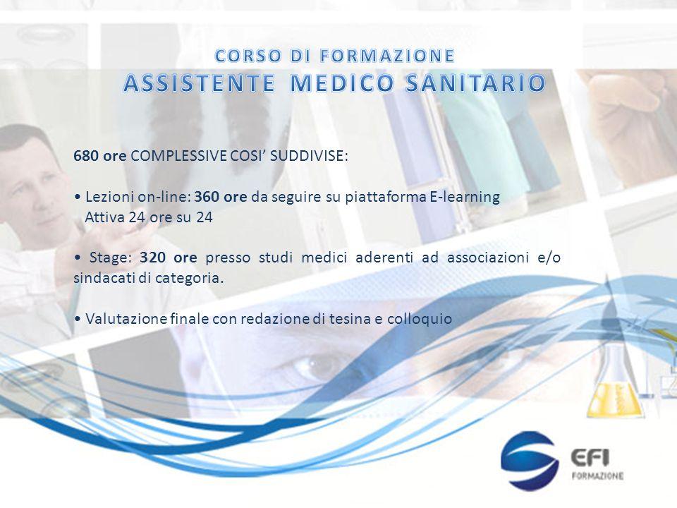 680 ore COMPLESSIVE COSI' SUDDIVISE: Lezioni on-line: 360 ore da seguire su piattaforma E-learning Attiva 24 ore su 24 Stage: 320 ore presso studi medici aderenti ad associazioni e/o sindacati di categoria.