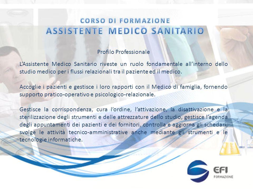 Profilo Professionale L'Assistente Medico Sanitario riveste un ruolo fondamentale all'interno dello studio medico per i flussi relazionali tra il pazi