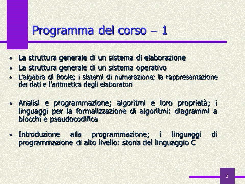 4 Programma del corso  2 I fondamenti del linguaggio C — lo sviluppo dei programmi, la compilazione dei file sorgente, il link ed il caricamento in memoria principale, la libreria di run–time, l'impaginazione dei file sorgente, il preprocessore Il linguaggio C — i tipi di dati scalari, il controllo di flusso, gli operatori e le espressioni, gli array ed i puntatori, le classi di memorizzazione,le funzioni, le direttive del preprocessore, input e output Esercitazioni frontali e in laboratorio (2  3 ore settimanali) sugli argomenti sviluppati nel corso