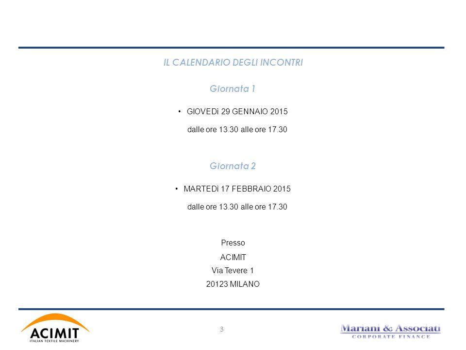 3 IL CALENDARIO DEGLI INCONTRI Giornata 1 GIOVEDì 29 GENNAIO 2015 dalle ore 13.30 alle ore 17.30 Giornata 2 MARTEDì 17 FEBBRAIO 2015 dalle ore 13.30 a