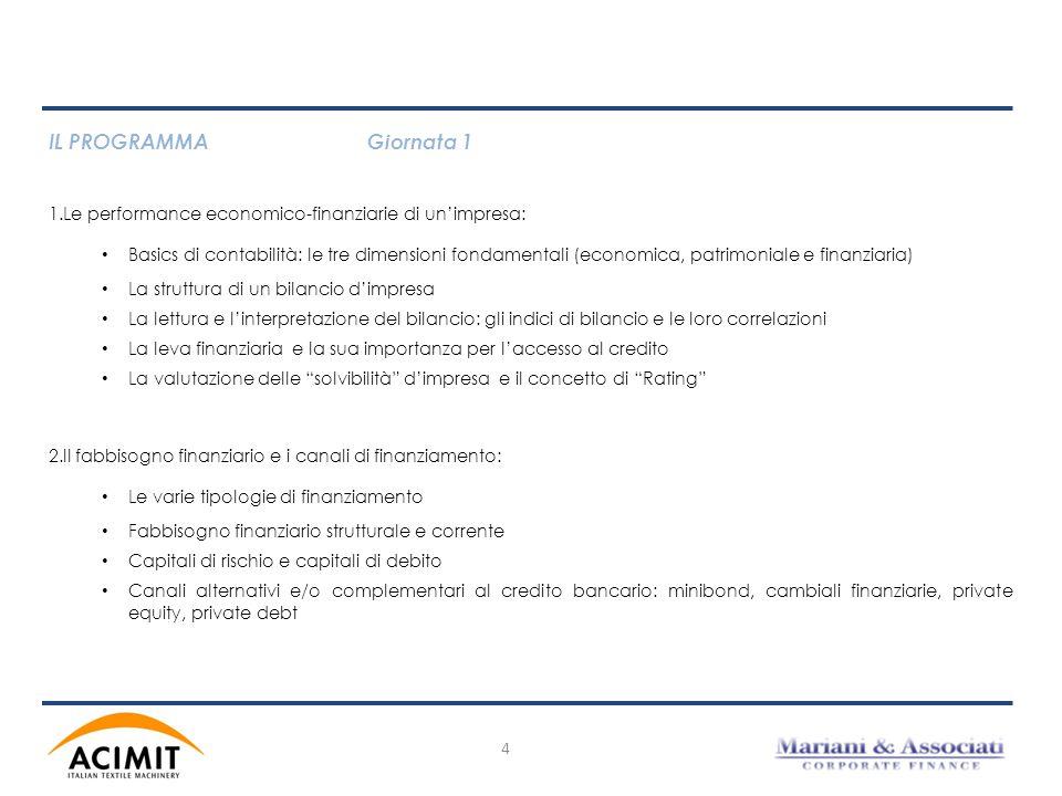 IL PROGRAMMAGiornata 1 1.Le performance economico-finanziarie di un'impresa: Basics di contabilità: le tre dimensioni fondamentali (economica, patrimo