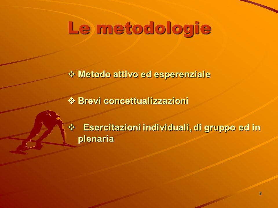 5 Le metodologie  Metodo attivo ed esperenziale  Brevi concettualizzazioni  Esercitazioni individuali, di gruppo ed in plenaria