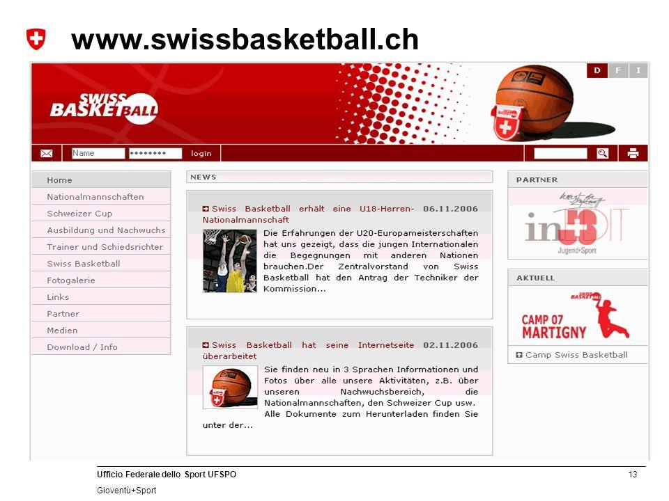 13 Ufficio Federale dello Sport UFSPO Gioventù+Sport www.swissbasketball.ch
