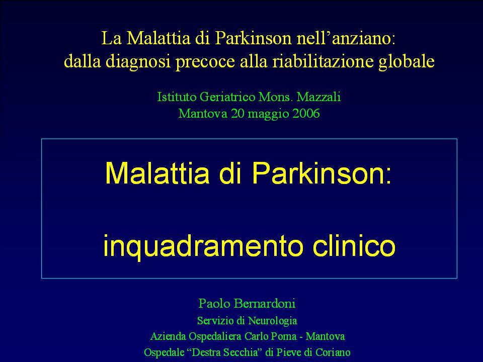 Epidemiologia dei parkinsonismi Prevalenza Incidenza MP 56-234 / 100.000 1,9-22,1 / 100.00 MSA 4-5 / 100.000 0,6 / 100.000 PSP 1,3-4,9 / 100.000 0,3-1,1 / 100.000 CBD sconosciuta,rara sconosciuta, rara LBD sconosciuta sconosciuta 10-25% dei casi di demenza all'autopsia