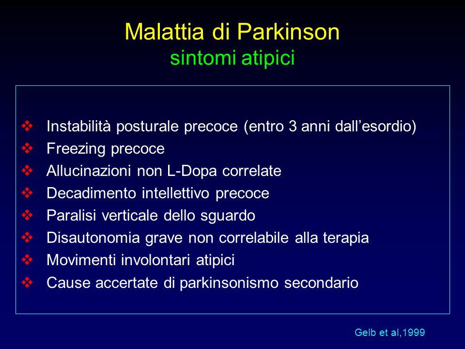 Malattia di Parkinson sintomi atipici  Instabilità posturale precoce (entro 3 anni dall'esordio)  Freezing precoce  Allucinazioni non L-Dopa correl