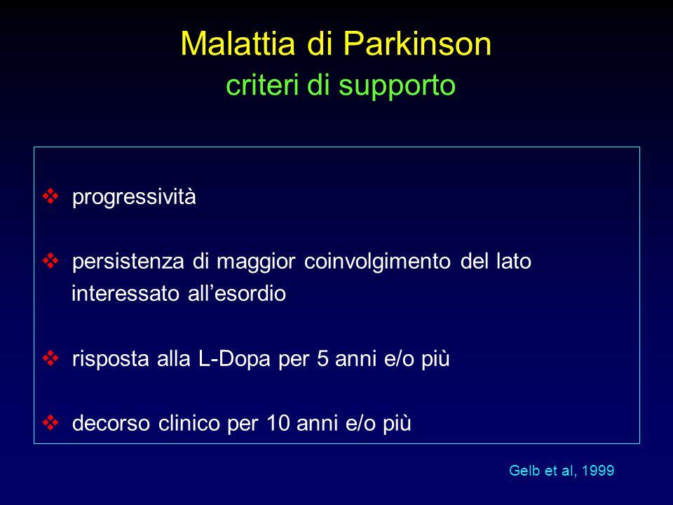 Malattia di Parkinson criteri di supporto  progressività  persistenza di maggior coinvolgimento del lato interessato all'esordio  risposta alla L-D