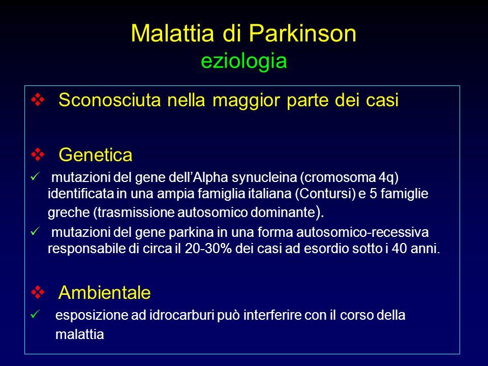 Malattia di Parkinson eziologia  Sconosciuta nella maggior parte dei casi  Genetica mutazioni del gene dell'Alpha synucleina (cromosoma 4q) identifi