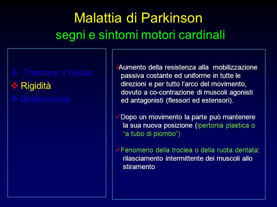 Malattia di Parkinson segni e sintomi motori cardinali  Tremore a riposo  Rigidità  Bradicinesia Aumento della resistenza alla mobilizzazione passi